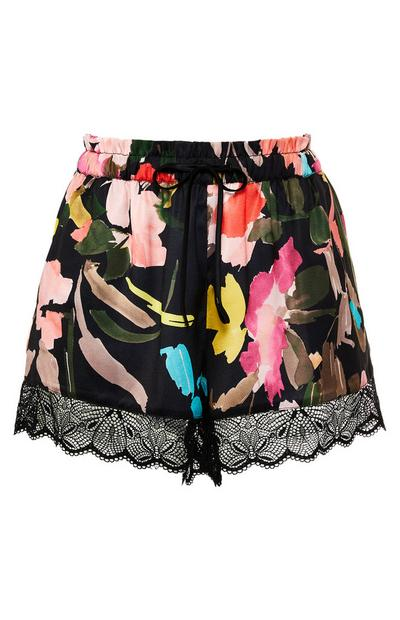 Black Floral Print Satin Lace Shorts