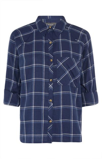 Navy Check Roll Sleeve Shirt