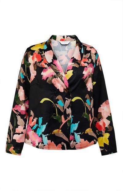 Black Floral Print Satin Pajama Shirt