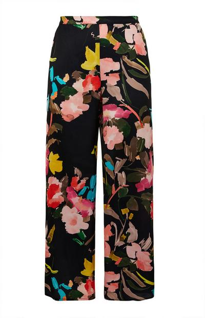 Black Satin Floral Print Pajama Bottoms