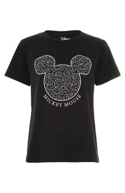 Black Disney Mickey Mouse Outline T-Shirt