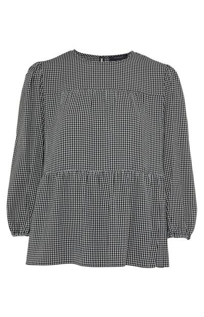 Black And White Check Tiered Smock Top
