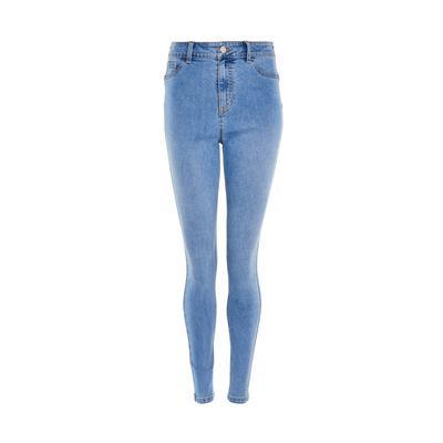 Jean skinny bleu clair sculptant en denim délavé