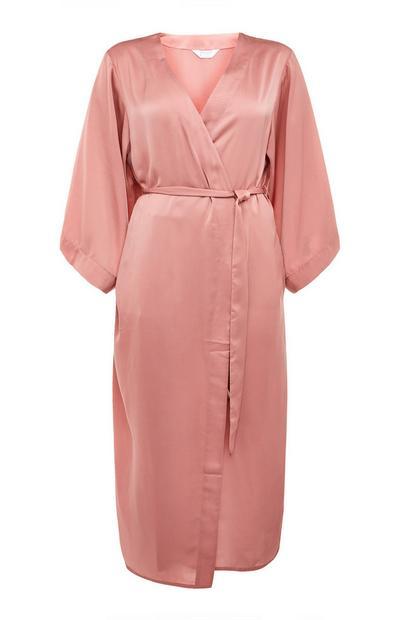 Blush Pink Satin Tie Waist Robe