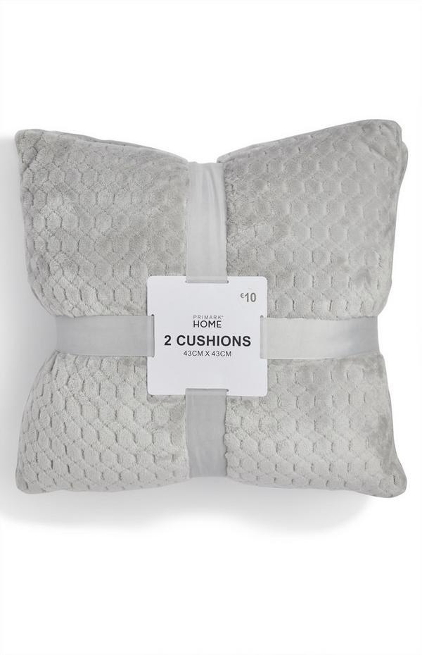 Grey Soft Textured Cushion 2Pk