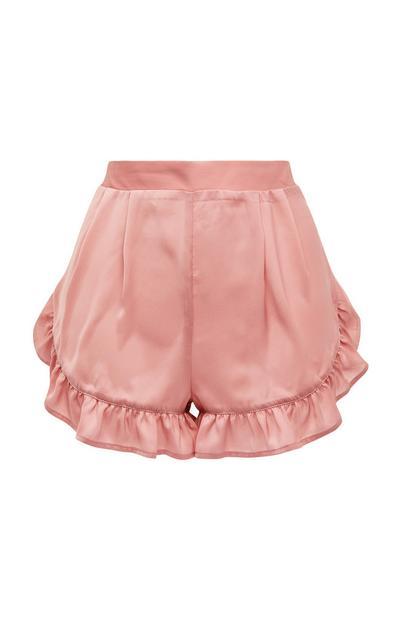Shorts rosa cipria in raso con volant sull'orlo