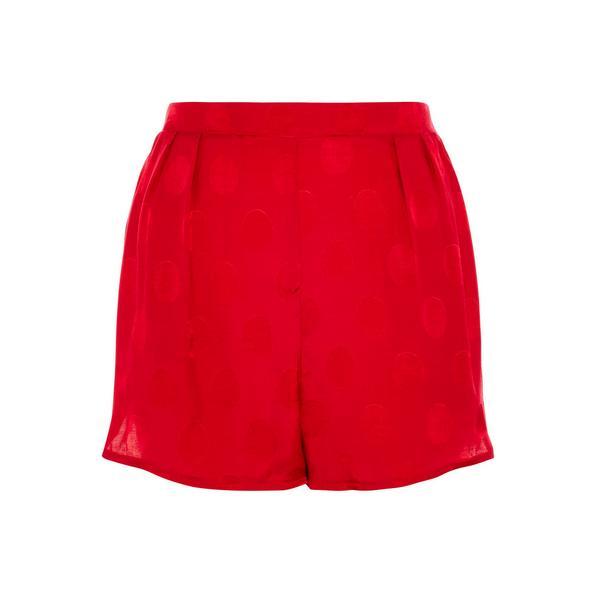 Rdeč pikčast nabran kratek spodnji del pižame iz viskoze