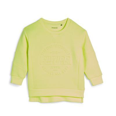 Sweat à capuche vert fluo utilitaire tissé garçon