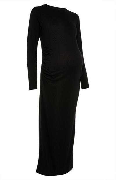 Black Maternity Ribbed Dress