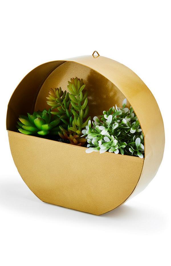 Goudkleurige ronde hanger met plant
