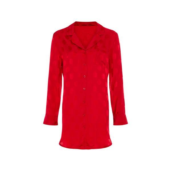 Rood viscose nachthemd met stippen