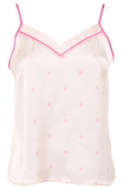 Krem-rožnata satenasta majica s tankimi naramnicami in potiskom srčkov