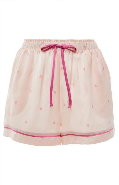 Pale Pink Satin Heart Print Pyjama Shorts