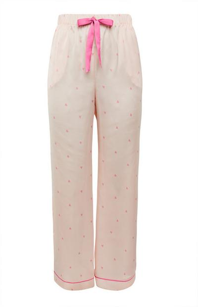 Pale Pink Satin Heart Print Pyjama Bottoms
