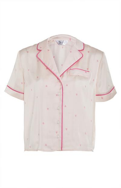 Pale Pink Satin Heart Print Nightshirt