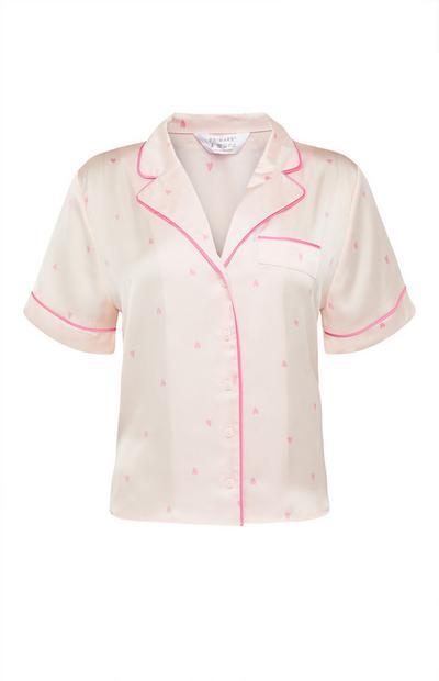Pink Polka Dot Print Satin Pajama Shirt