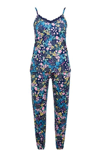 Black Floral Print Camisole & Leggings Pajama Set