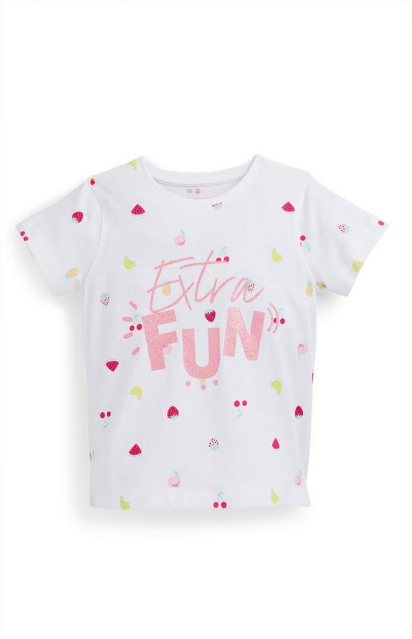 T-shirt bianca con scritta Fun da bambina