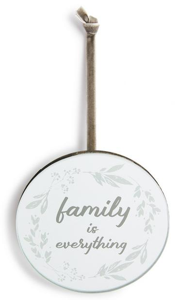 Petite plaque miroir ronde Family Is Everything