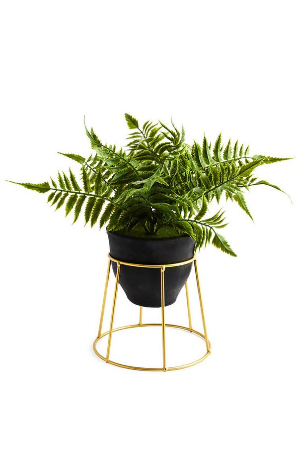 Black And Gold Faux Plant Pot Stand