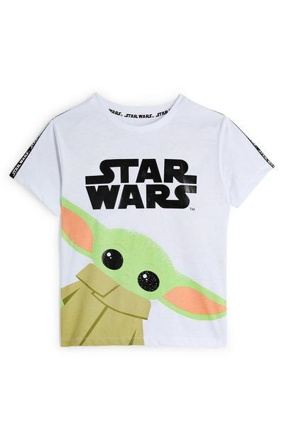 Younger Boys White Star Wars The Mandalorian T-Shirt