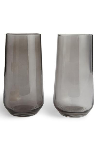 Black Smoked Glass Vase 2 Pack