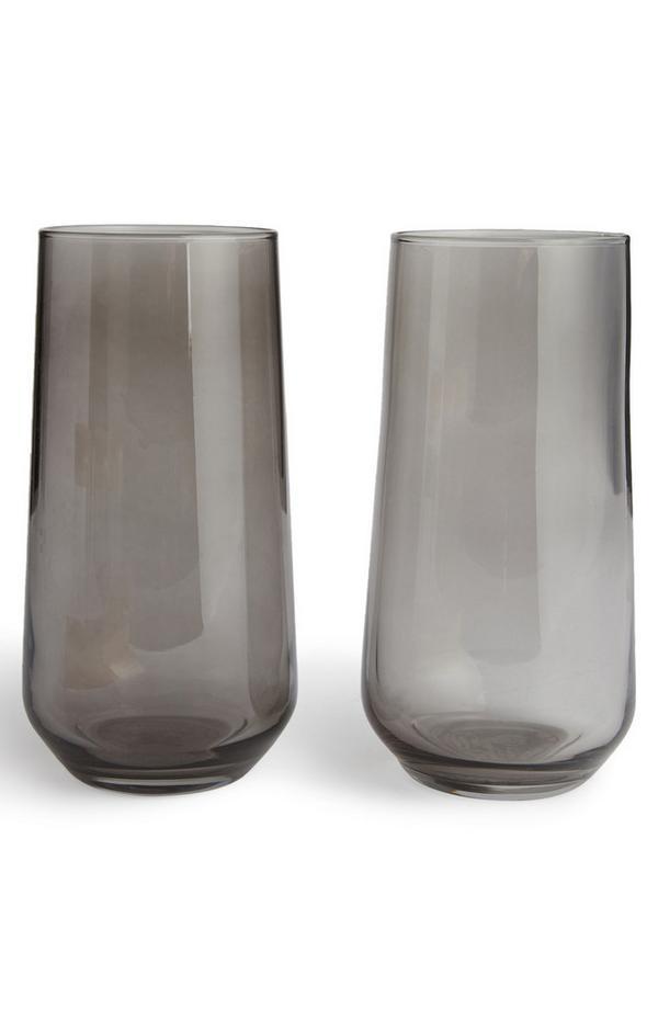 Pack de 2 vasos negros de cristal ahumado
