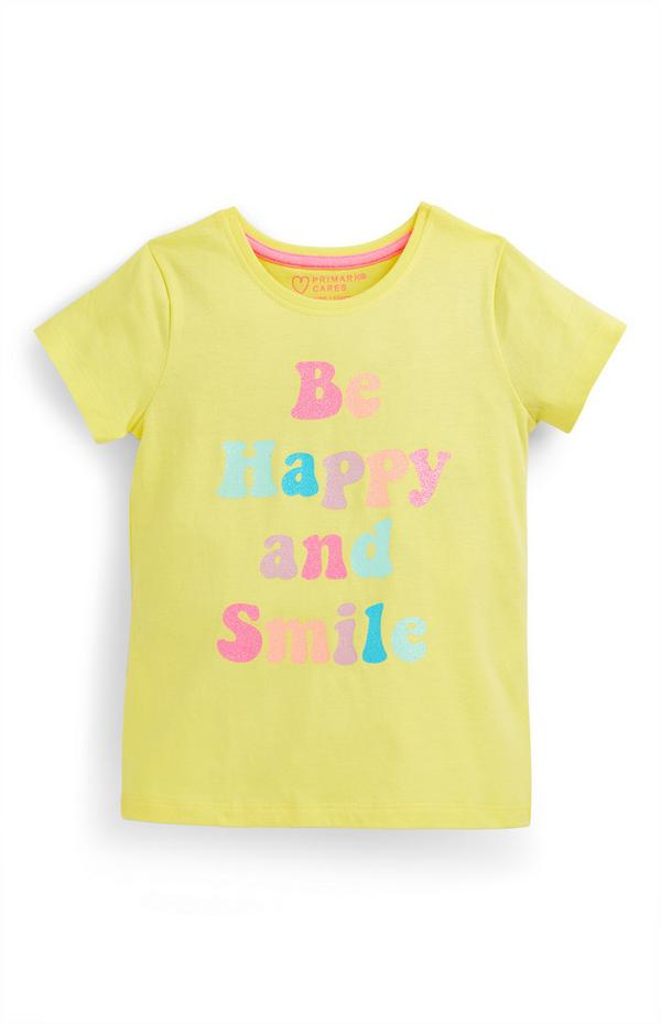 T-shirt gialla con scritta Happy da bambina