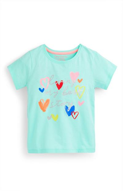 Younger Girl Turquoise Heart Print T-Shirt