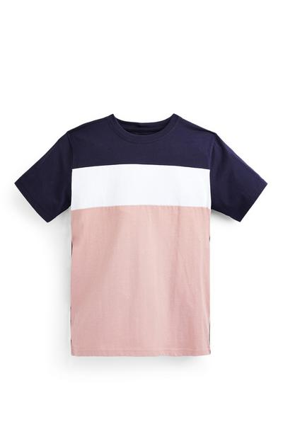 T-shirt rose poudré color-block ado