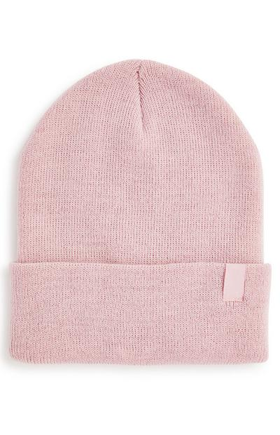 Blush Pink Turn Up Beanie Hat