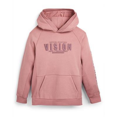 Poederroze hoodie Vision voor jongens