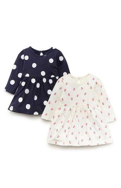 2-Pack Baby Girl Navy And White Print Jersey Dresses