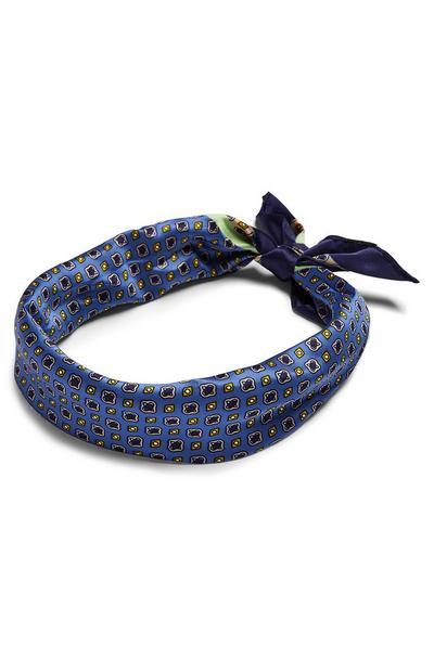 Blauw satijnen sjaaltje met print