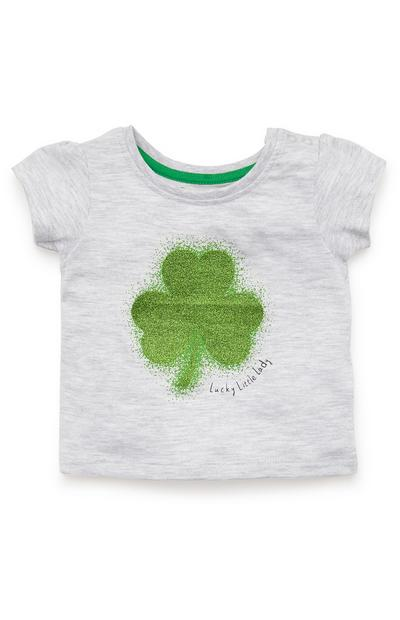 Baby Girl Grey Shamrock Print T-Shirt