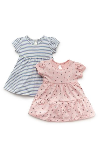 Lot de 2 robes rose et bleu en jersey bébé fille