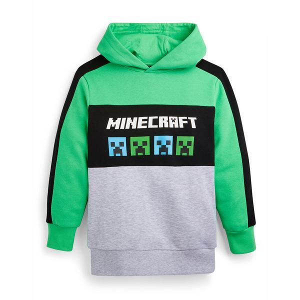 Older Boy Green Minecraft Overhead Hoodie
