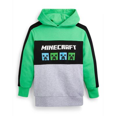 Older Boy Green Minecraft Pullover Hoodie