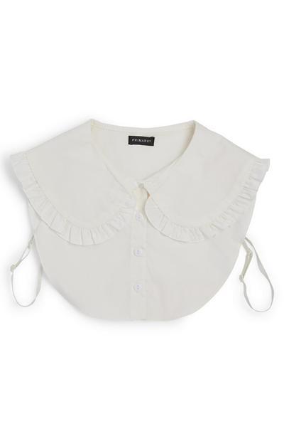 White Smocked Bib Shirt Collar