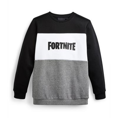Older Boy Gray And Black Fortnite Crew Neck Sweatshirt