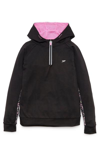 Older Girl Black And Pink Active Leisure Zip Hoodie