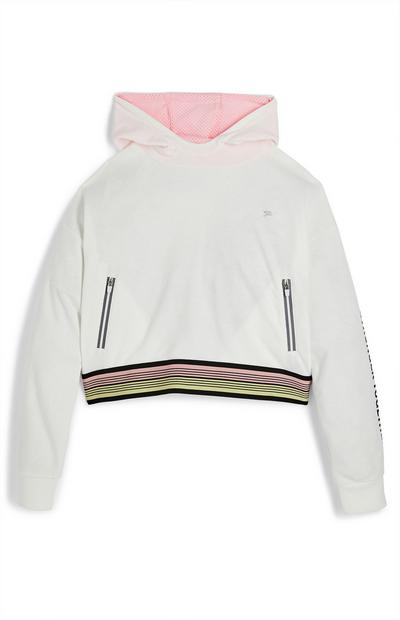 Older Girl Active White Leisure Hoodie