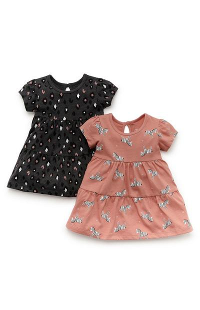 Baby Girl Black And Coral Jersey Dress 2 Pack