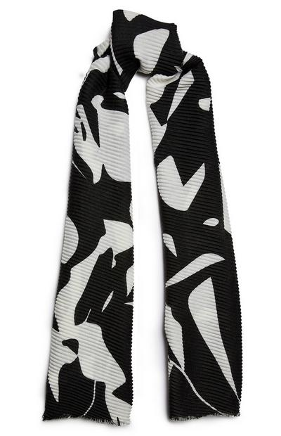 Black And White Pleat Print Scarf