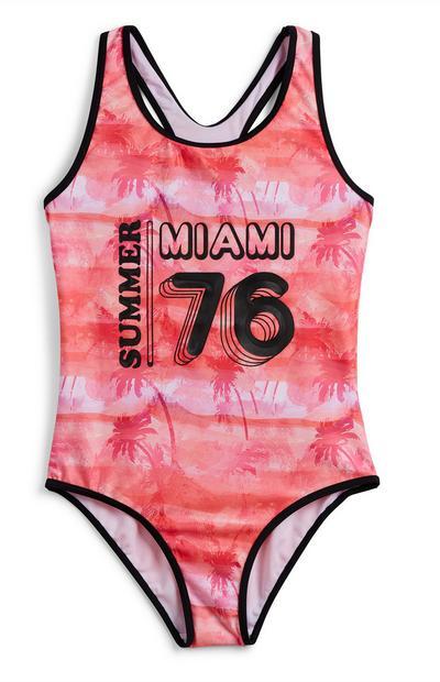 Older Girl Red Sporty Swimsuit