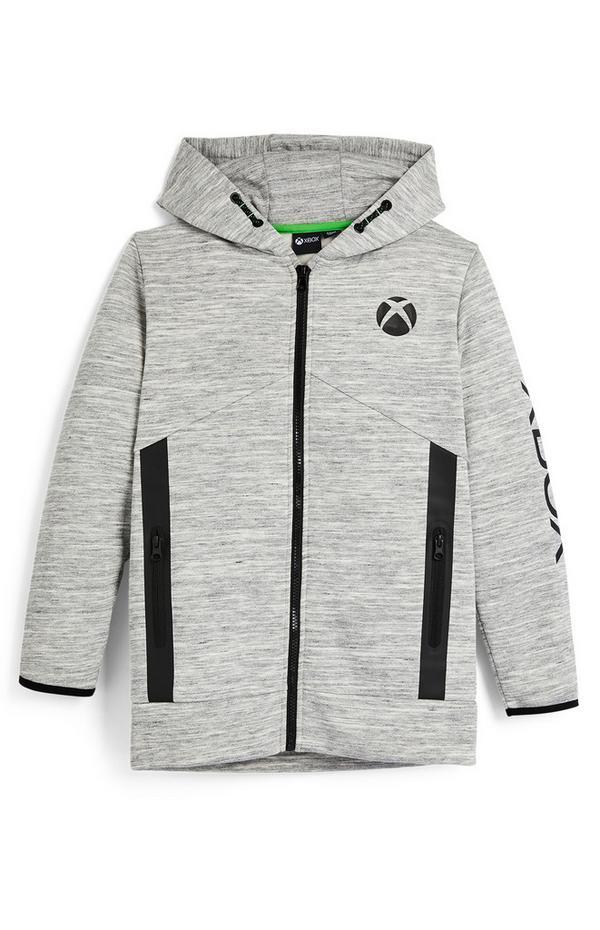 Felpa grigia Xbox con cappuccio e zip da ragazzo