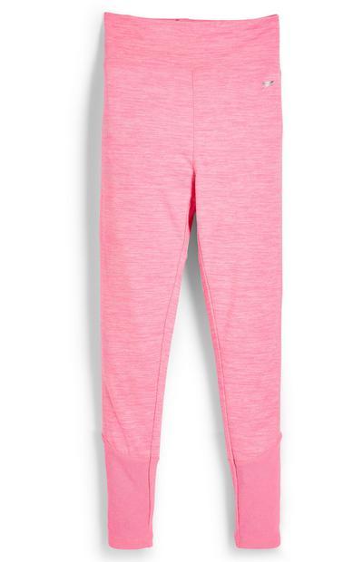 Legging de sport rose fluo chiné ado