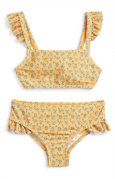 Rumen bikini z drobnim cvetličnim vzorcem za mlajša dekleta