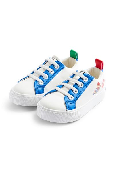 Younger Boy White Super Mario Low Top Trainers