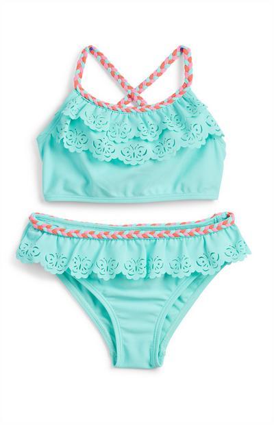Younger Girl Turquoise Laser Cut Plait Bikini